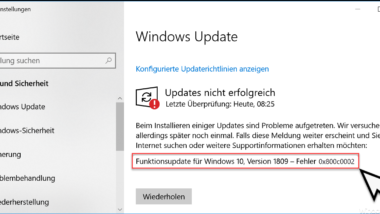 Windows Update Fehlercode 0x800c0002