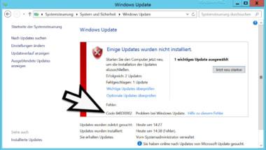 84B30002 Fehlercode beim Windows Update