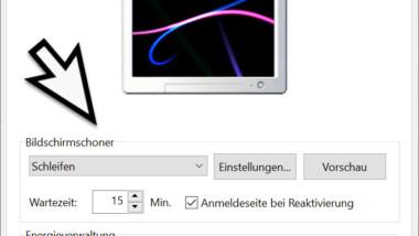 Bildschirmschoner einrichten bei Windows 10