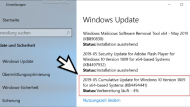 Download KB4494441 für Windows 10 Version 1809 Build 17763.503