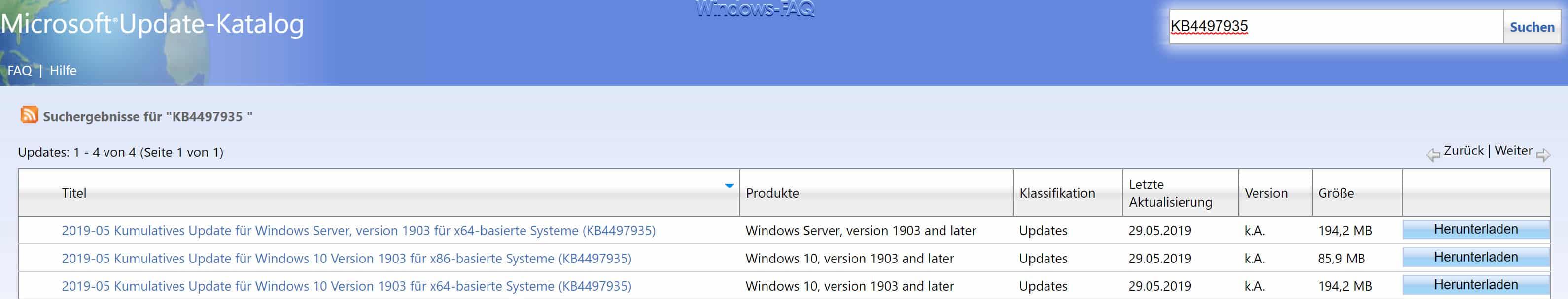 Download KB4497935 für Windows 10 Version 1903 Build 18362 145