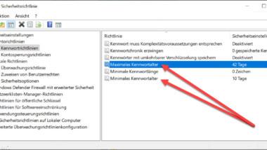 Minimales und Maximales Kennwortalter bei Windows definieren