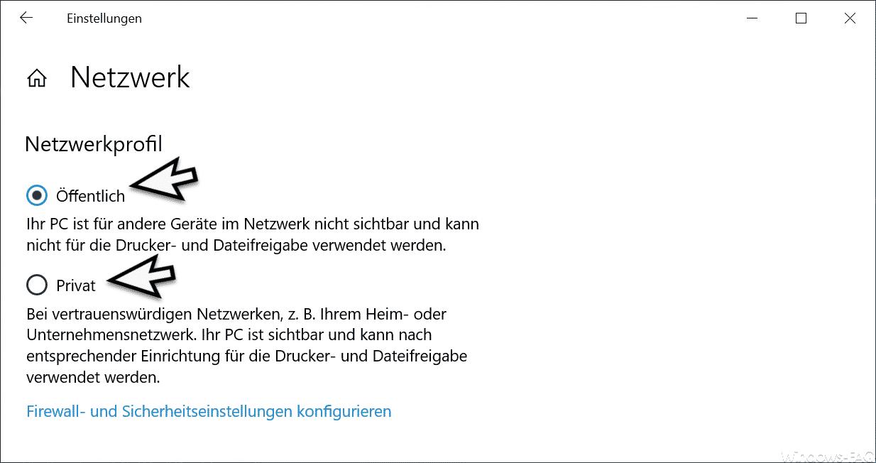 Netzwerkprofil Öffentlich Privat Windows 10