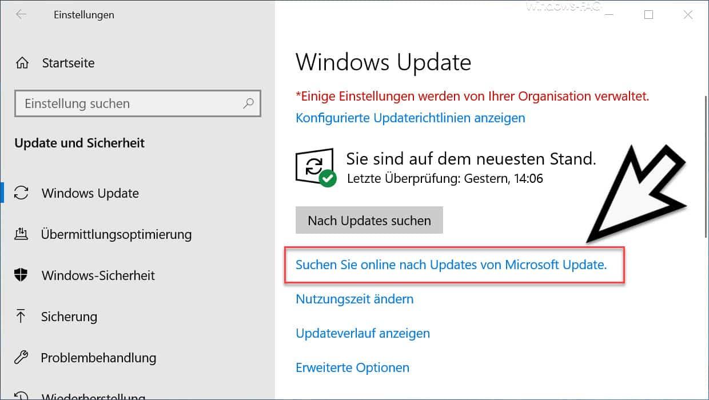 Suchen Sie online nach Updates von Microsoft Update