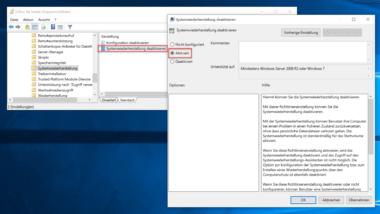 Windows Systemwiederherstellung verhindern bzw. deaktivieren