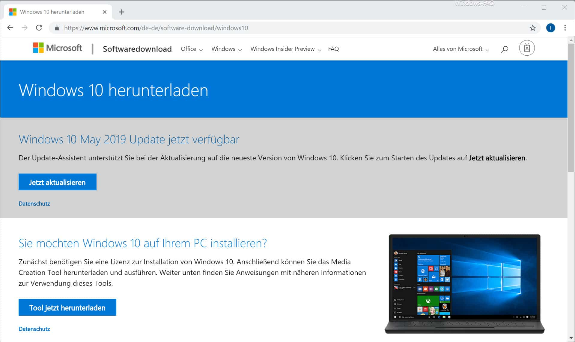 Windows 10 1903 herunterladen