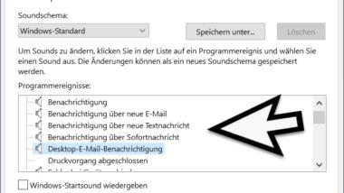 Benachrichtigungs Sounds unter Windows 10 ändern