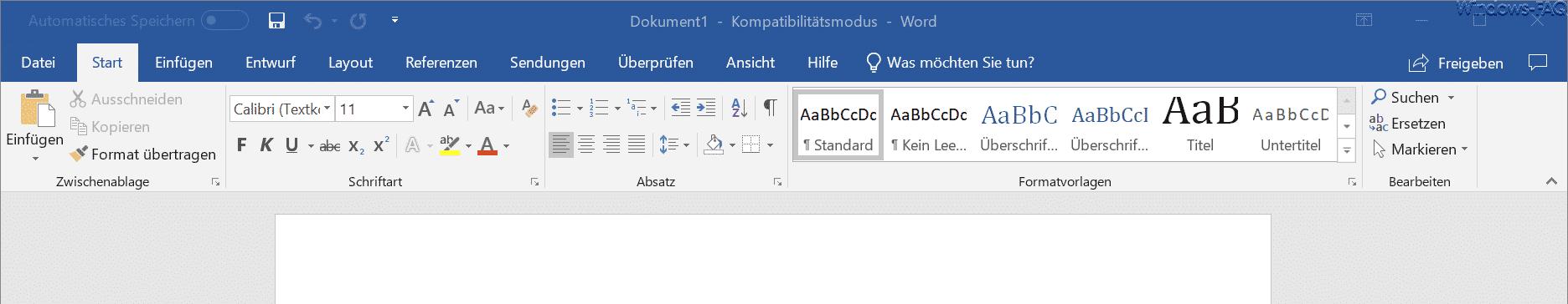 Word 365 altes Design