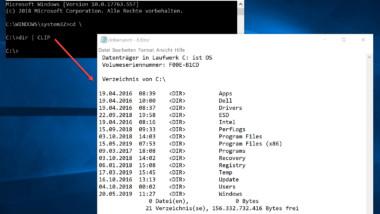 CLIP Befehl leitet Ausgaben in die Windows Zwischenablage um