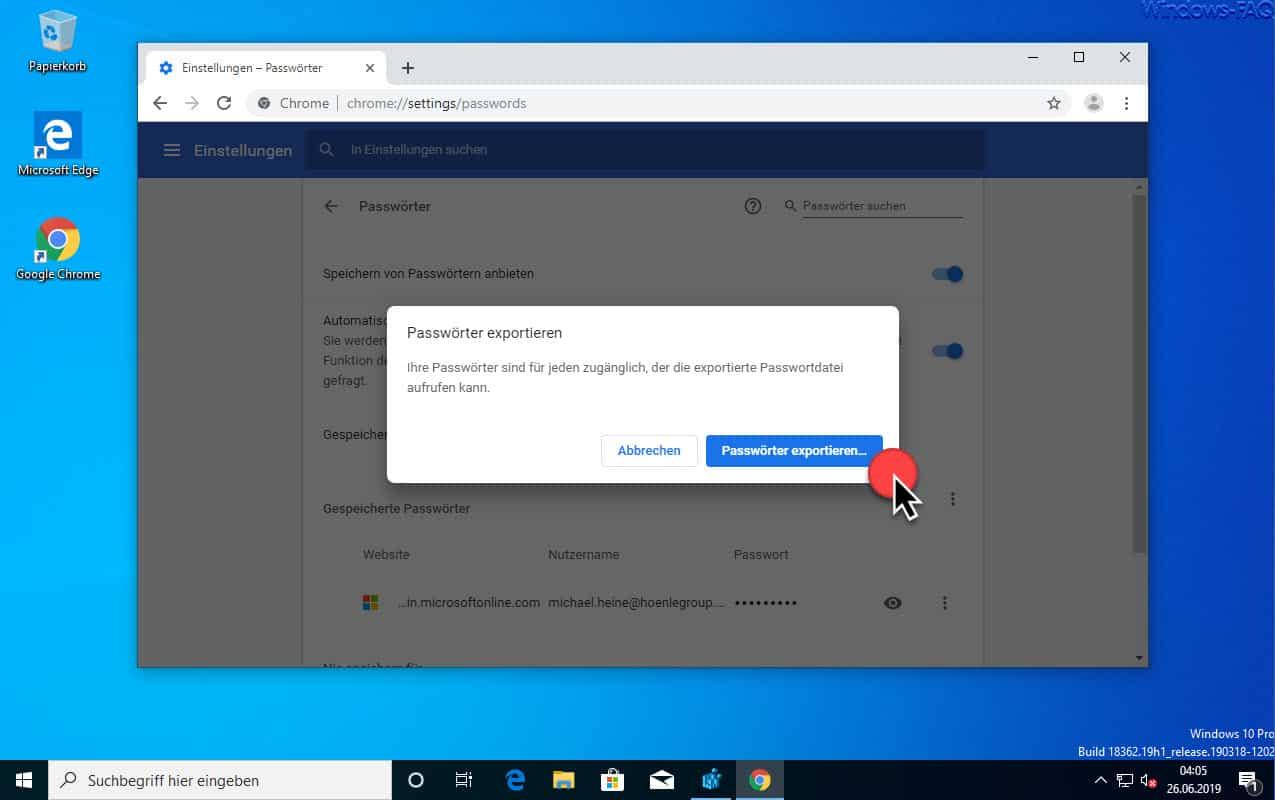 Chrome Bestätigung Passwörter exportieren