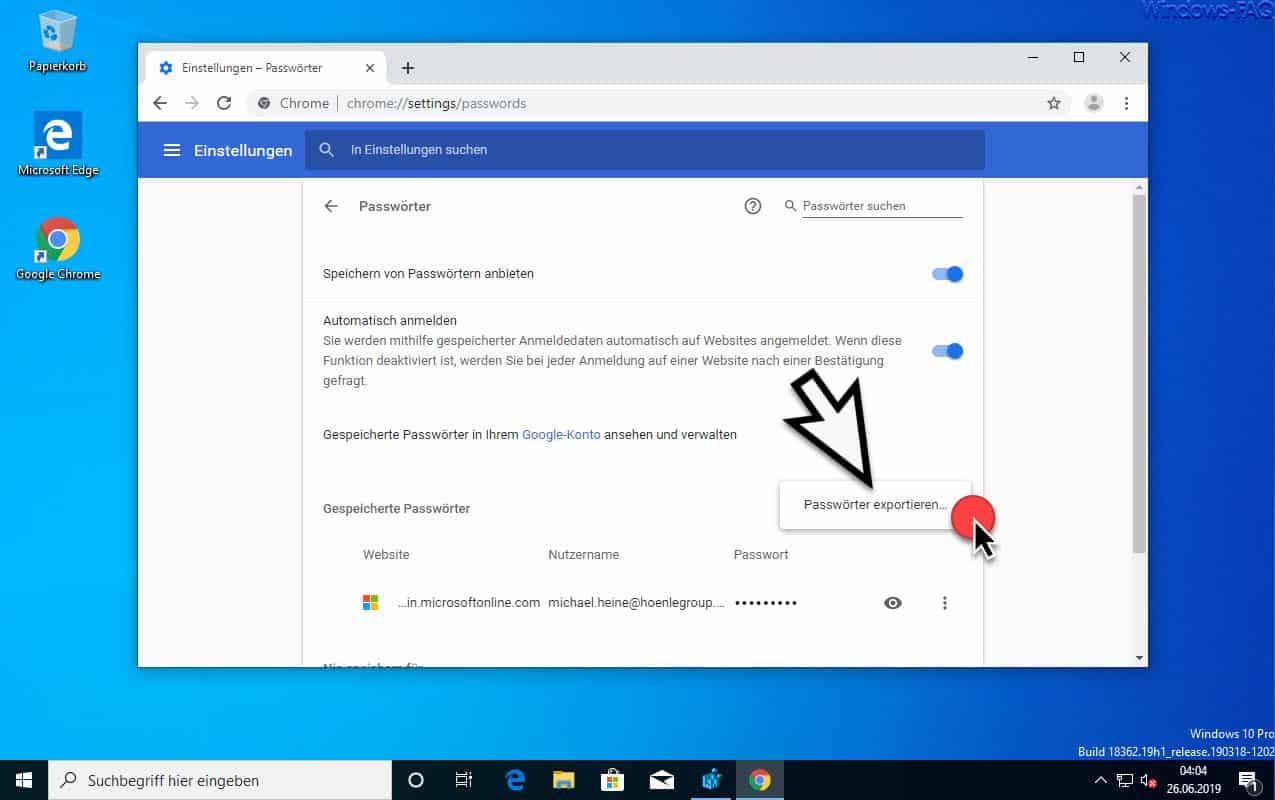 Chrome Passwörter exportieren