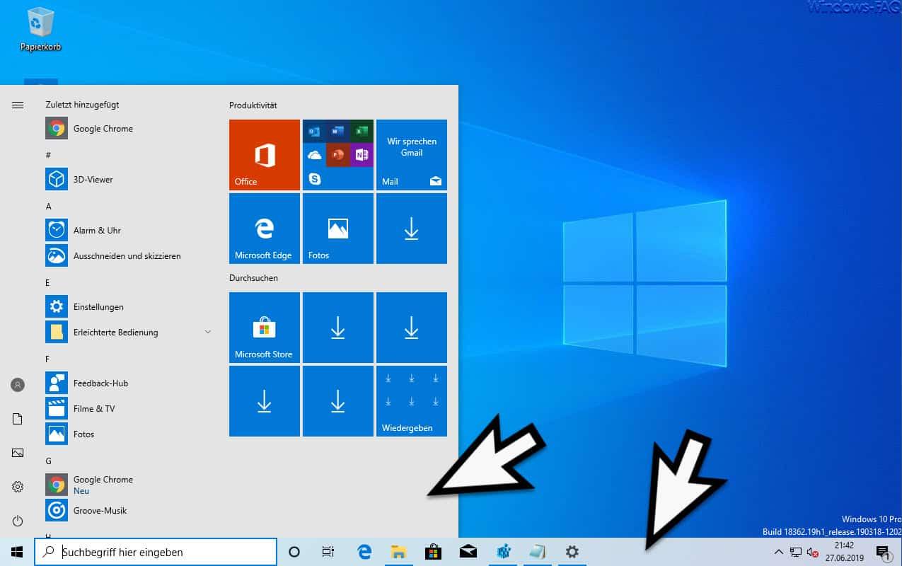 Helles Windows 10 Startmenü und helle Windows 10 Taskleiste