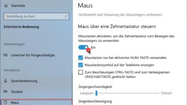 Maus über die Zehnertastatur steuern bei Windows 10