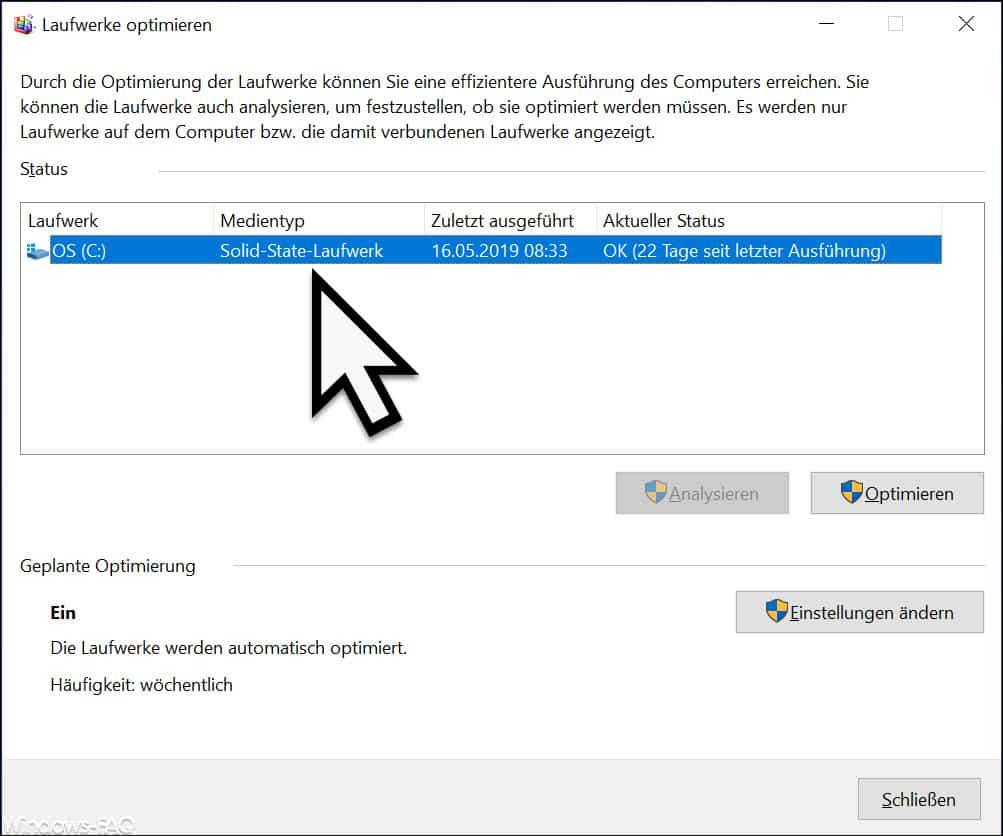 Solid-State Laufwerk Defragmentierung