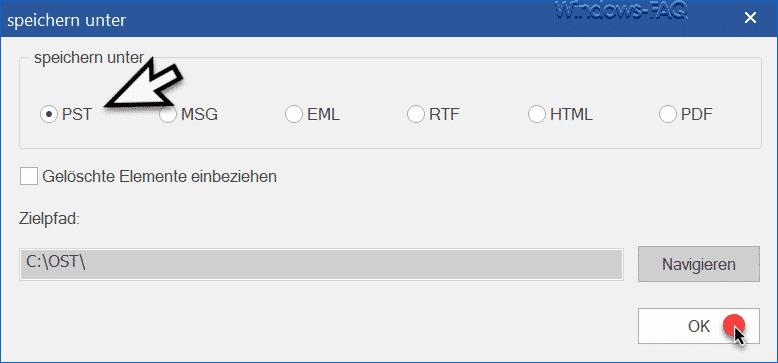 Stellar Converter OST PST Datei speichern