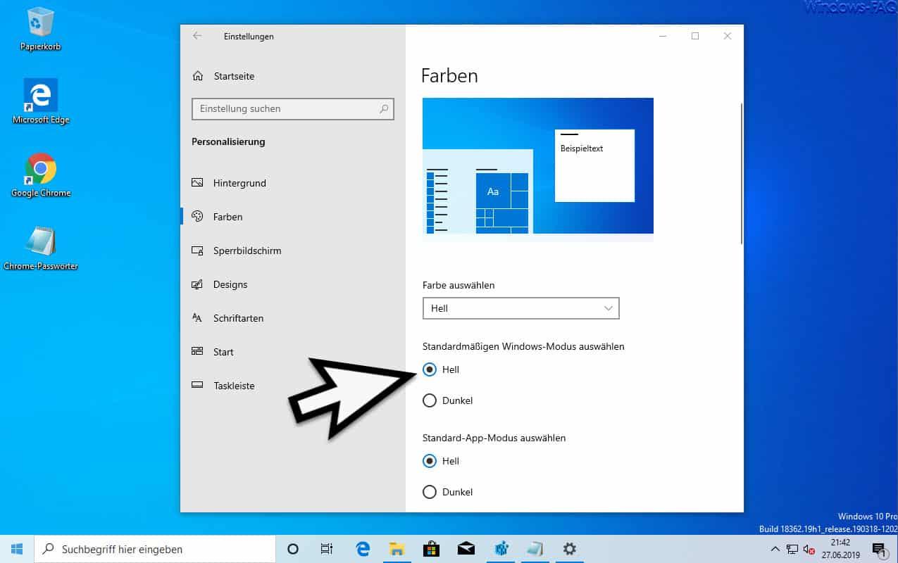 Windows 10 Modus Hell