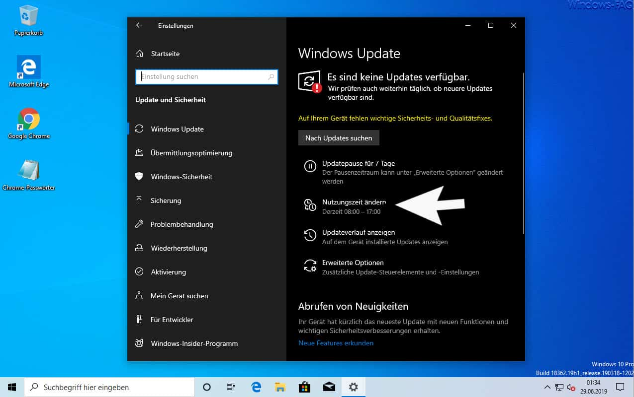 Windows 10 Update Nutzungszeit