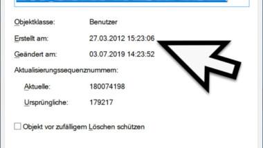 An welchem Datum wurde ein Active Directory User Objekt erstellt
