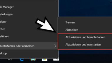Windows PC ohne Installation von anstehenden Windows Updates herunterfahren oder neu starten