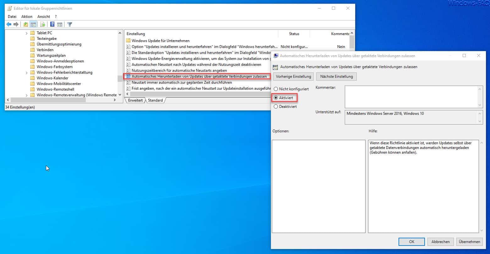 Automatisches Herunterladen von Updates über getaktete Verbindungen zulassen