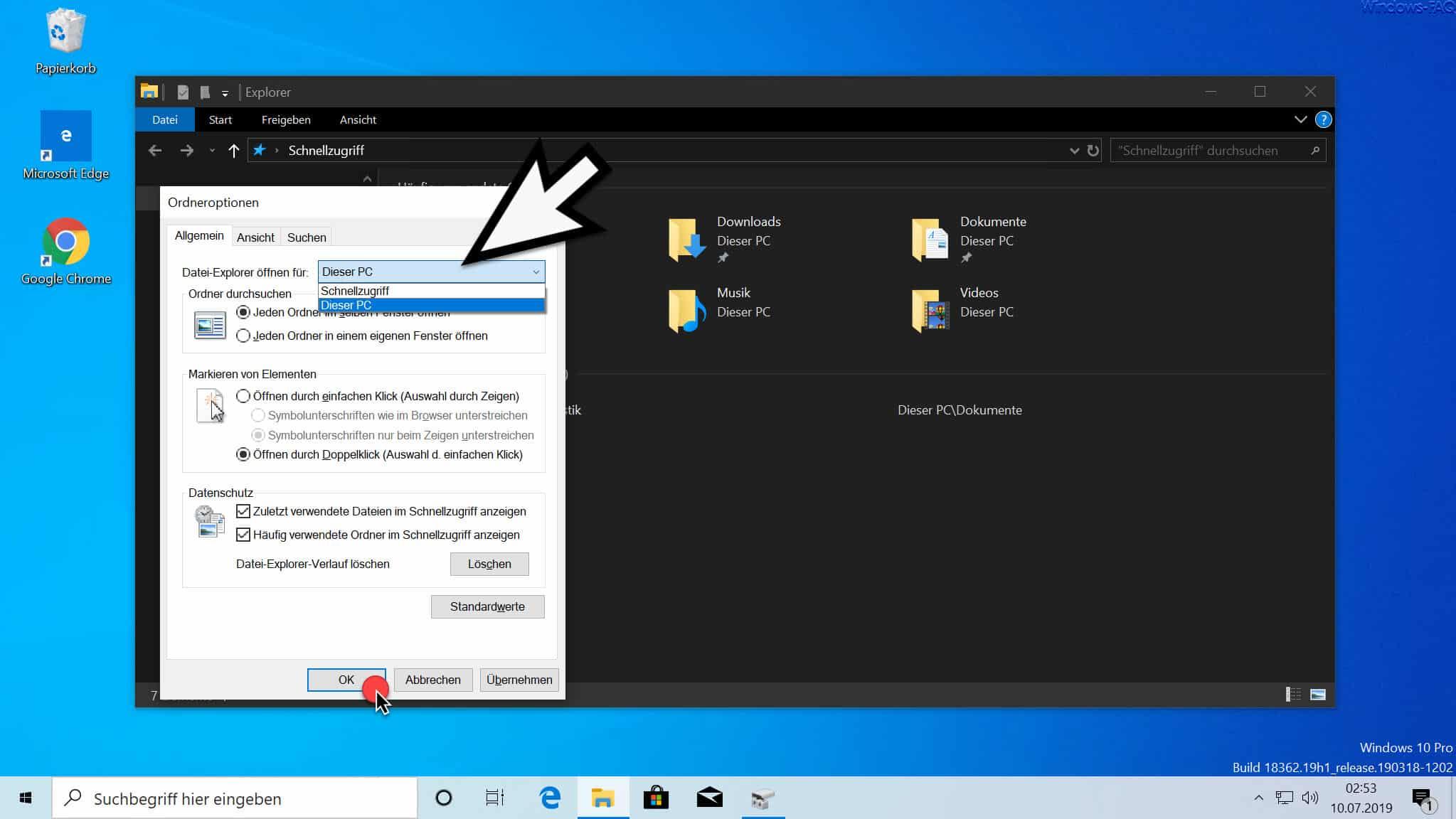 Datei Explorer öffnen für