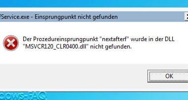 """Der Prozedureinsprungpunkt """"nextafterf"""" wurde in der DLL MSVCR120_CLR0400.dll nicht gefunden"""