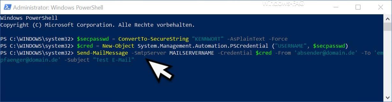 E-Mail per PowerShell versenden mit Authentifizierung