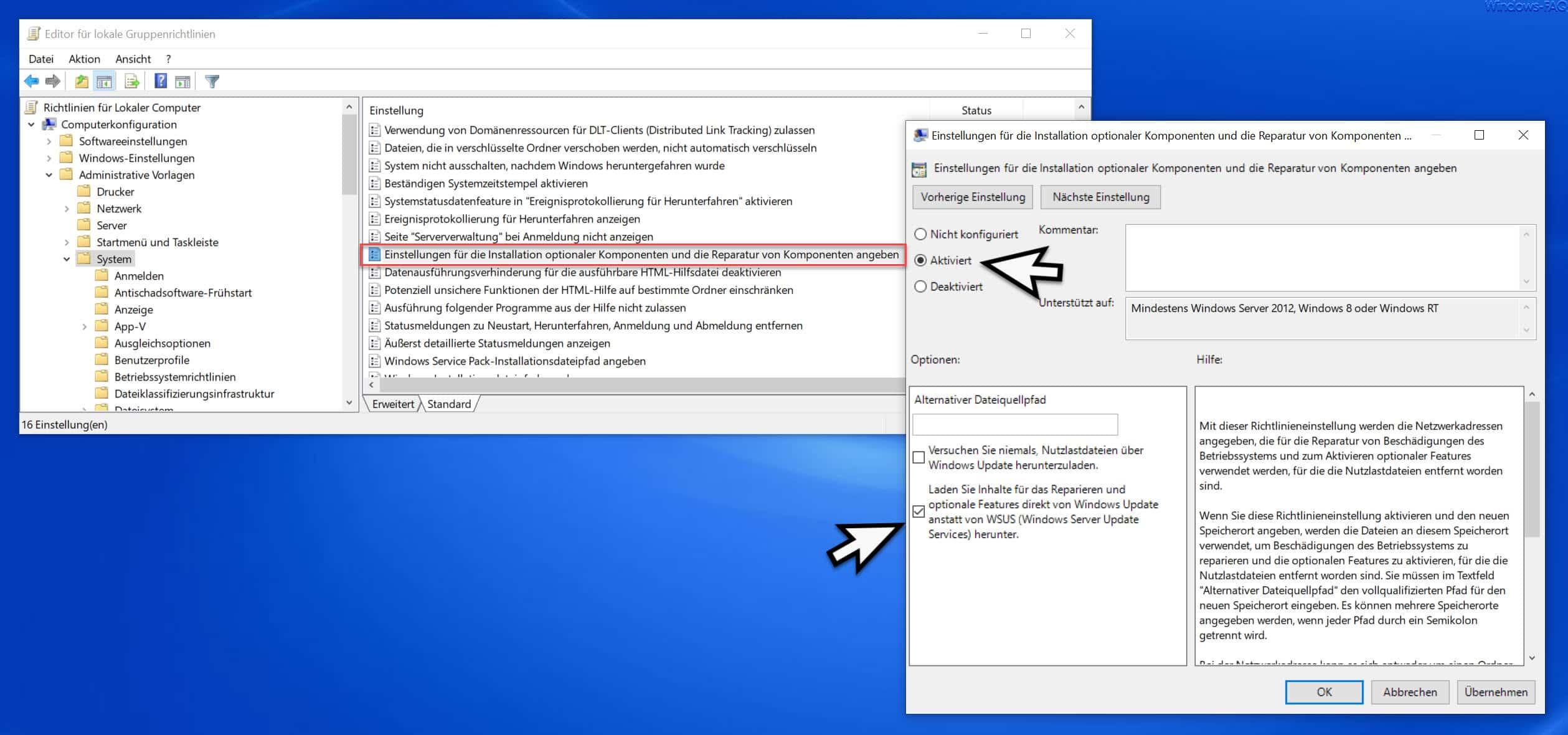 Einstellungen für die Installation optionaler Komponenten und die Reparatur von Komponenten angeben