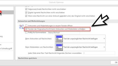 Originalnachricht automatisch schließen beim Antworten im Outlook