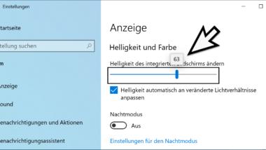 Helligkeit des Bildschirms bei Windows 10 einstellen