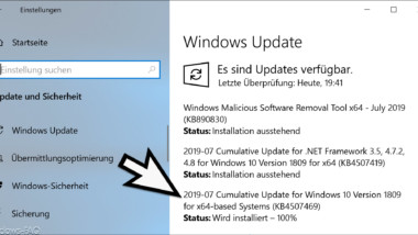 Update KB4507469 für Windows 10 Version 1809 Build 17763.615 zum Downloaden