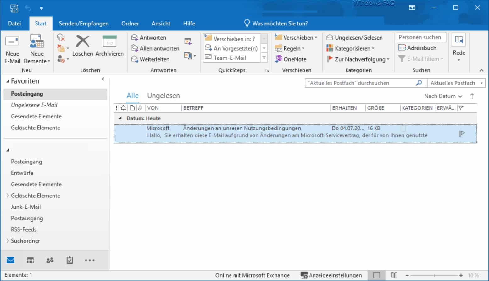 Outlook Farbiger Modus