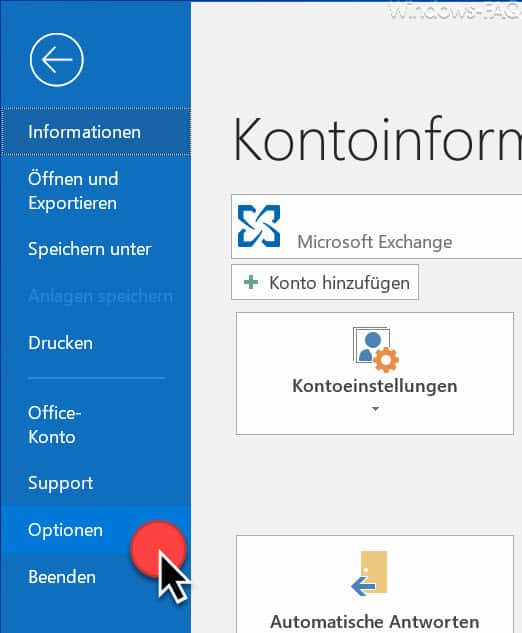 Outlook Optionen