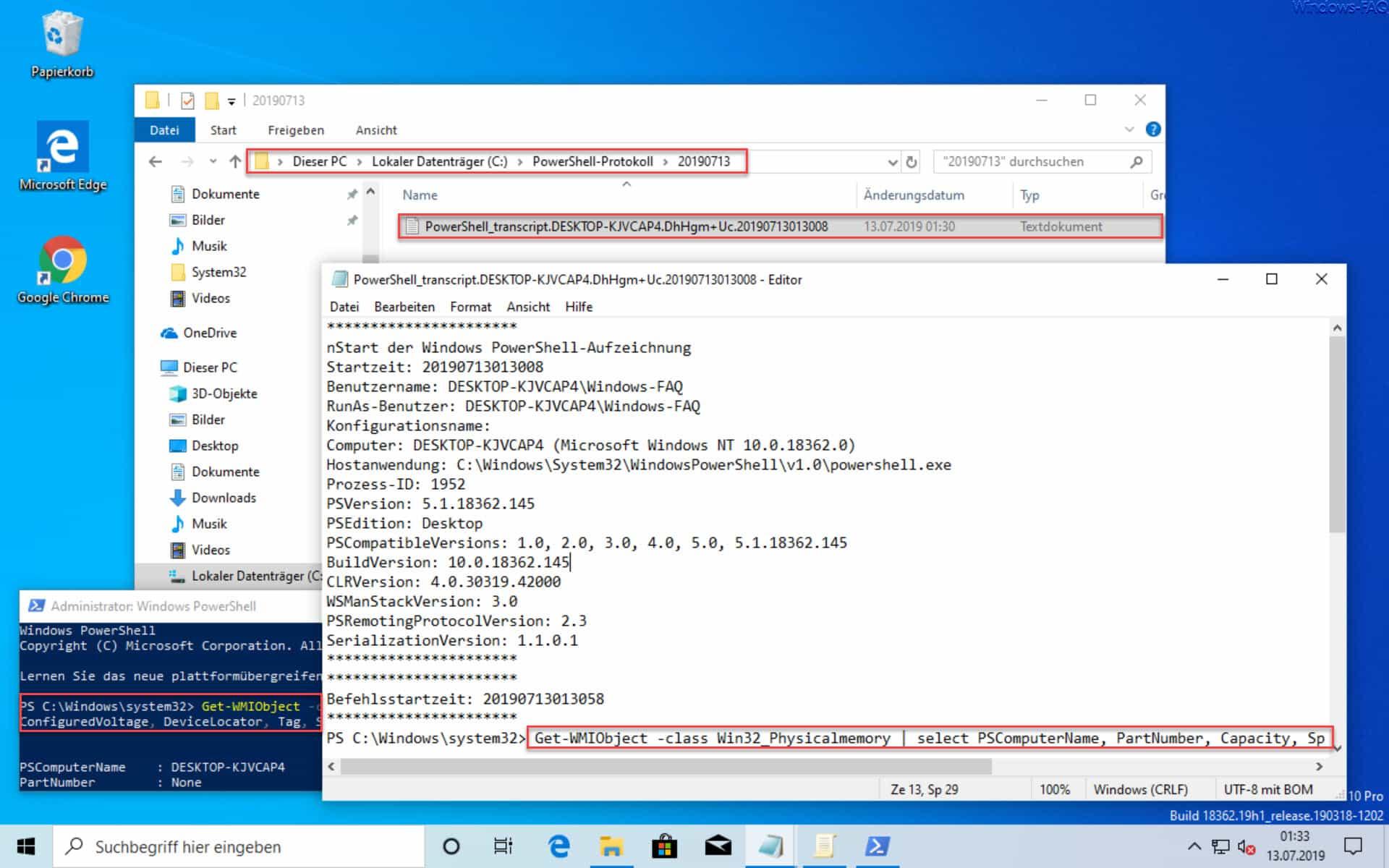 PowerShell Protokolldatei