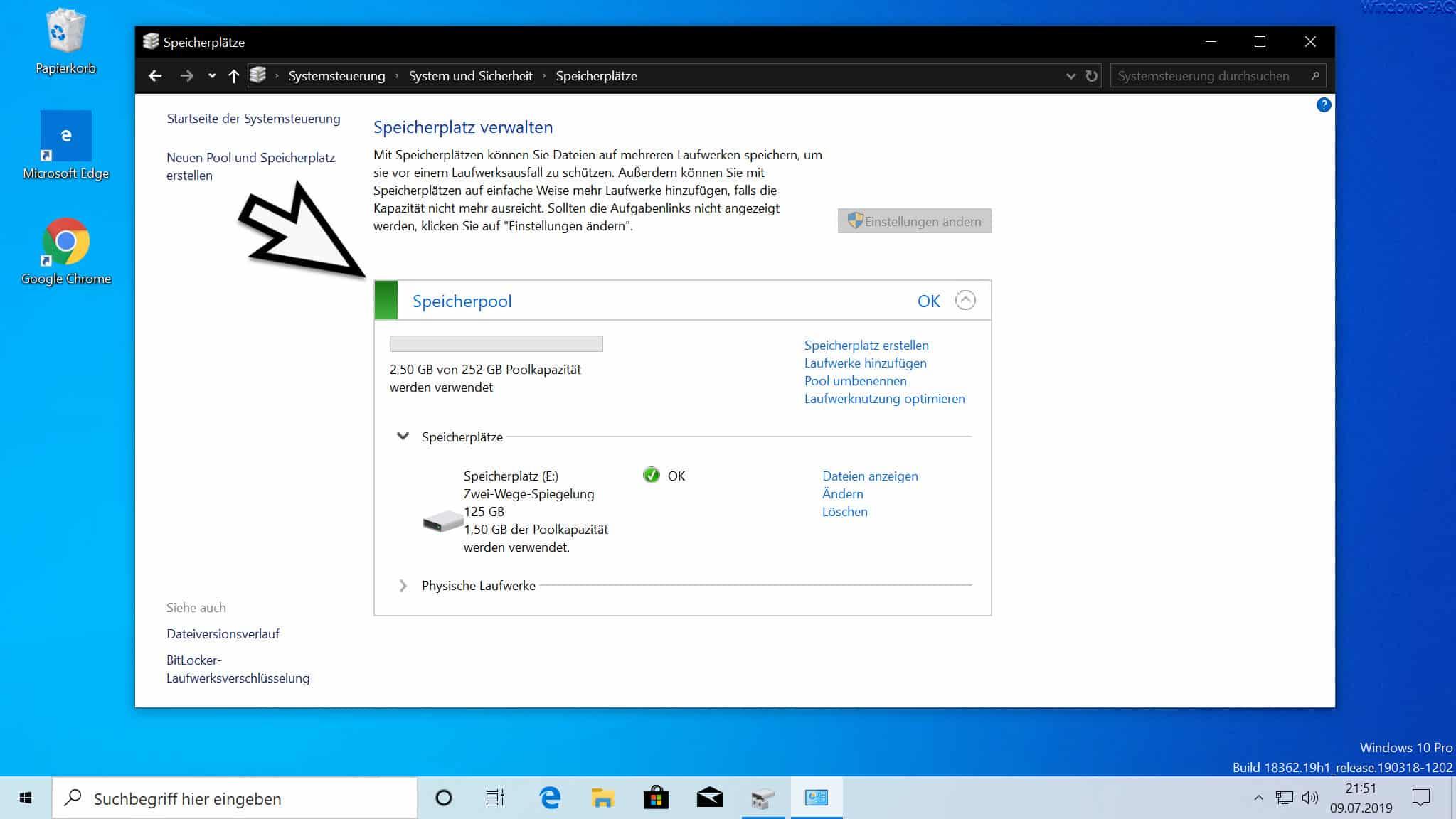 Speicherplatz verwalten Windows 10
