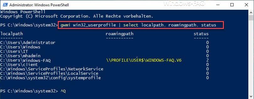 Userprofile incl. Profilpfad und Profilstatus