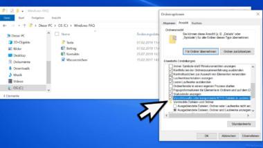 Farbliche Darstellung der verschlüsselten und komprimierten Dateien und Ordner im Windows Explorer