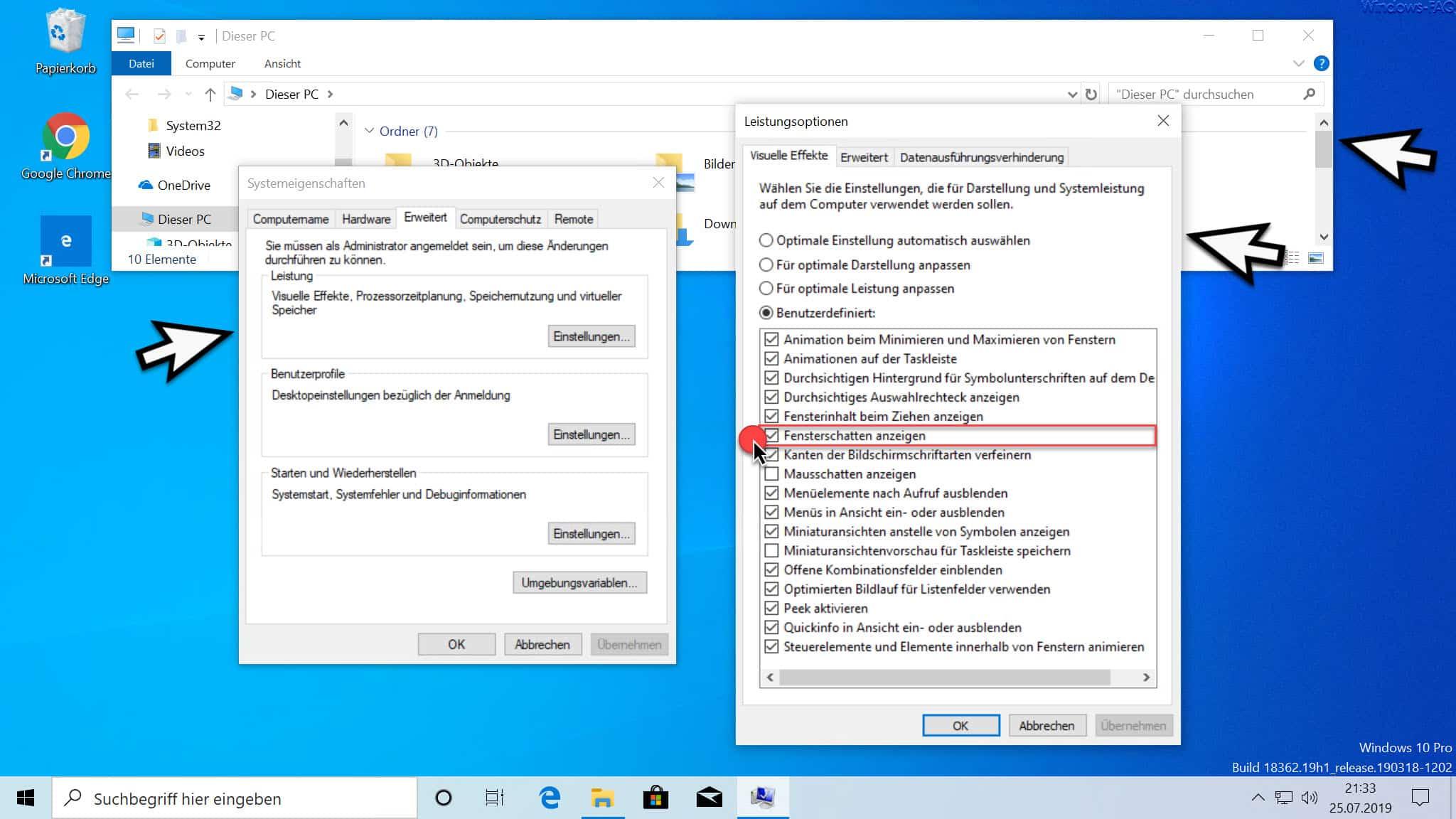 Windows Fensterschatten anzeigen