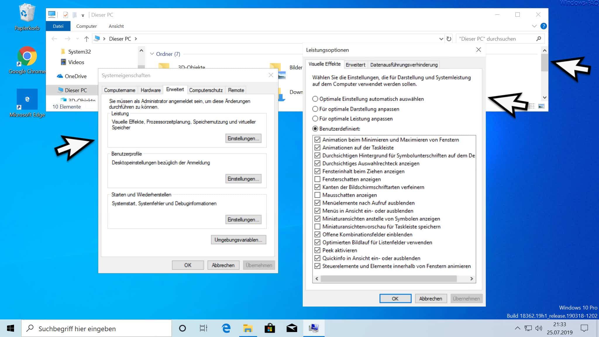 Windows Fensterschatten nicht anzeigen