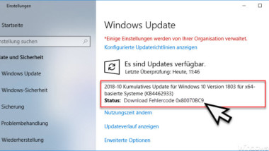 Windows Update Fehlercode 0x80070BC9