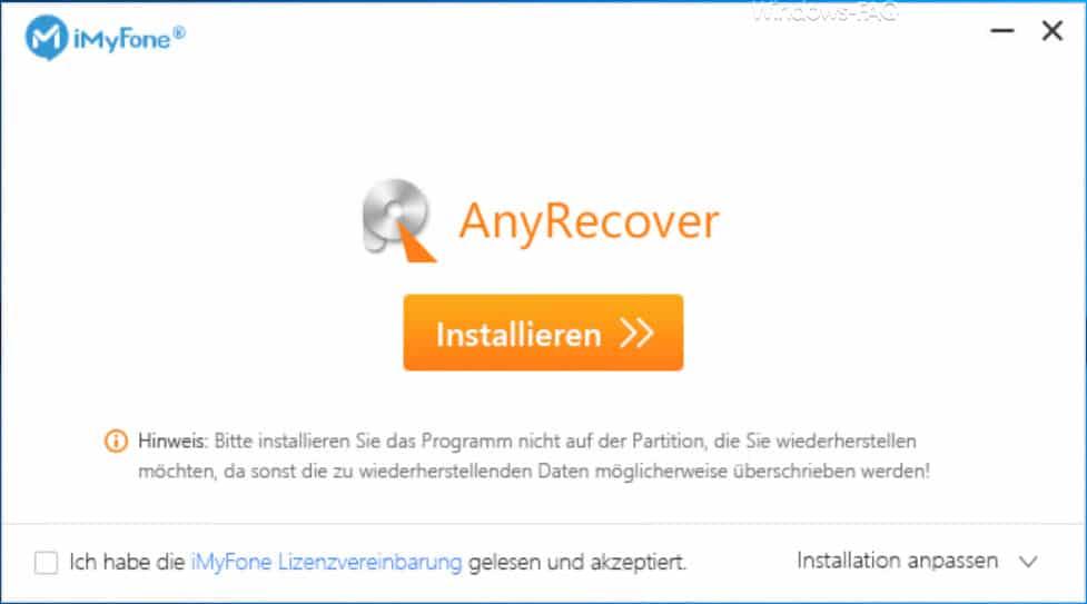 AnyRecover installieren