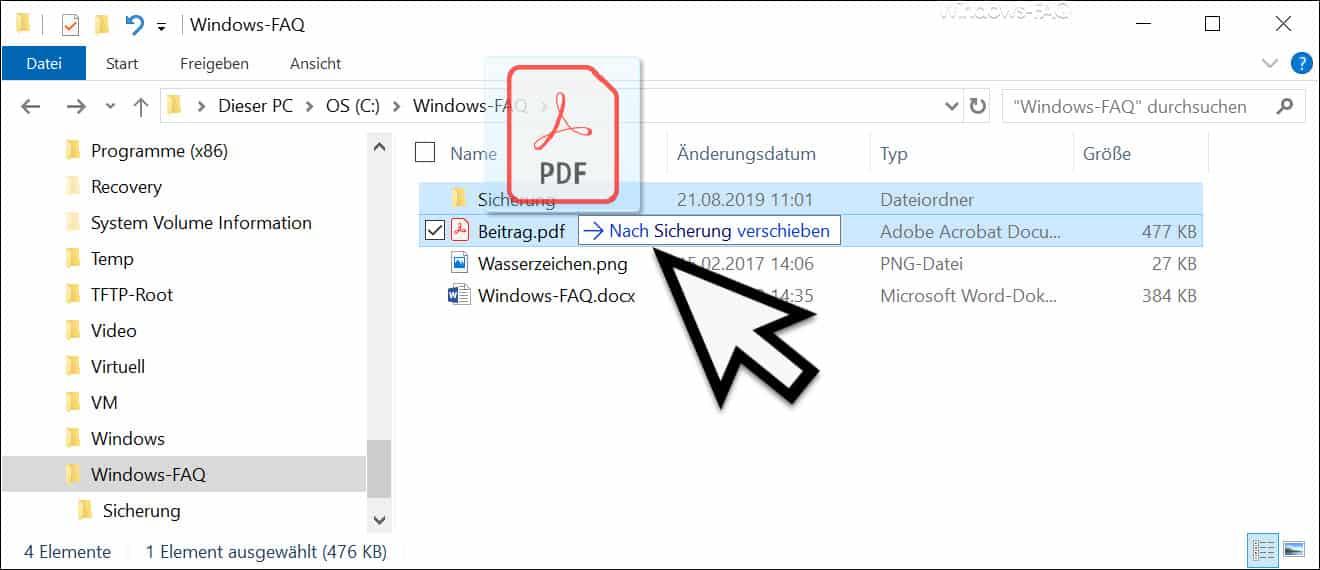 Datei im Explorer aus Versehen verschieben oder löschen
