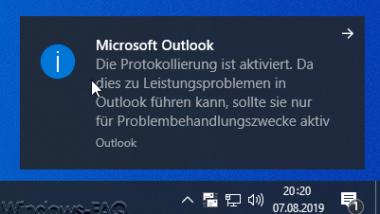 Outlook Protokollierung und Erstellung von Logfiles aktivieren