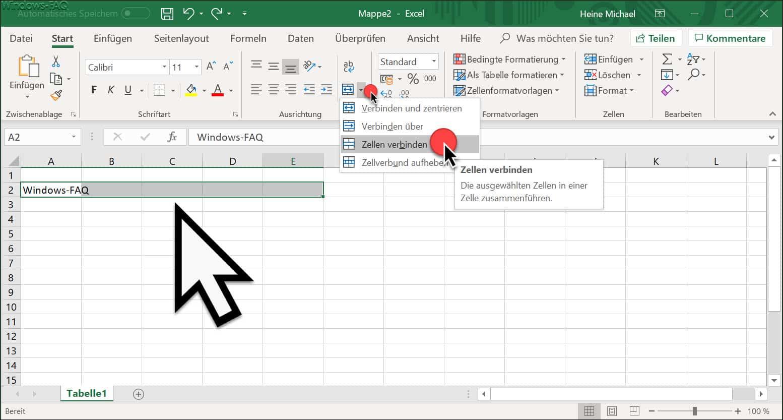 Excel Zellen verbinden