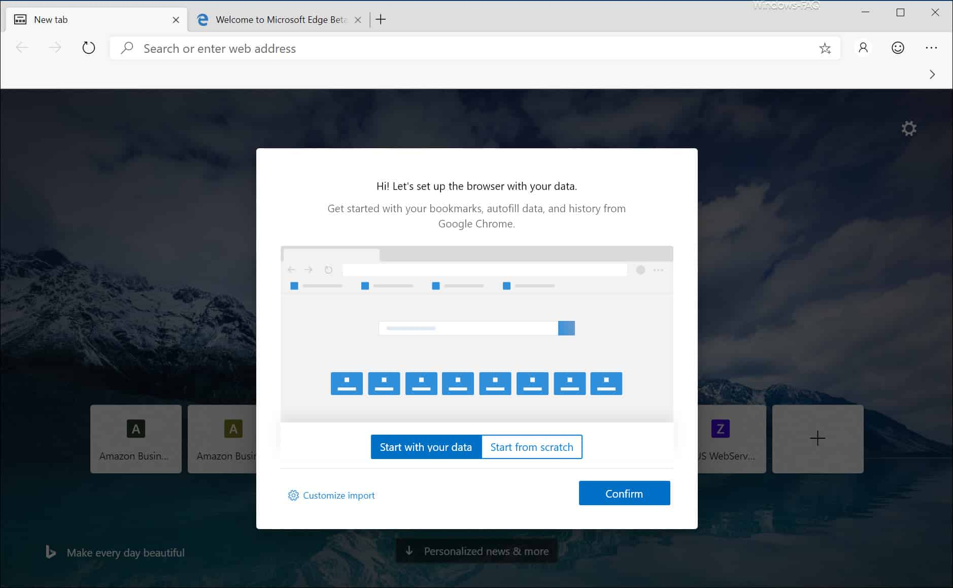 Microsoft Edge Chromium Beta erster Start