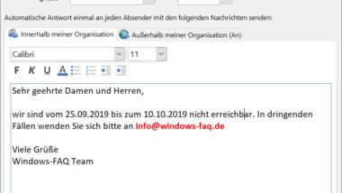 Outlook Abwesenheits-Nachrichten und automatische Antworten einrichten