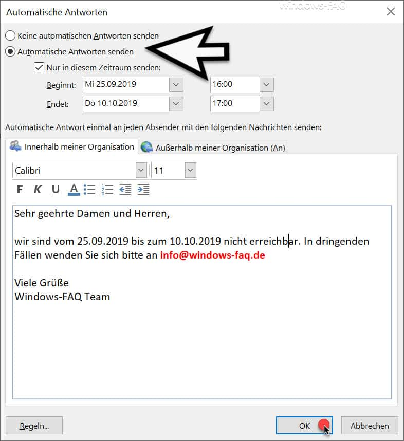 Outlook Automatische Antworten