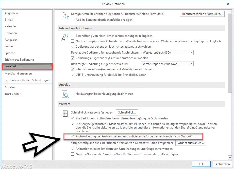 Outlook Protokollierung aktivieren im Outlook