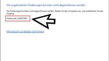 Fehlercode 0x80072EFE bei der Installation von .Net Framework 3.5