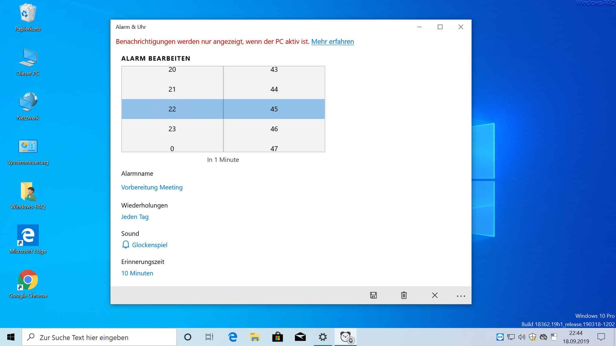 Alarm bearbeiten Windows 10